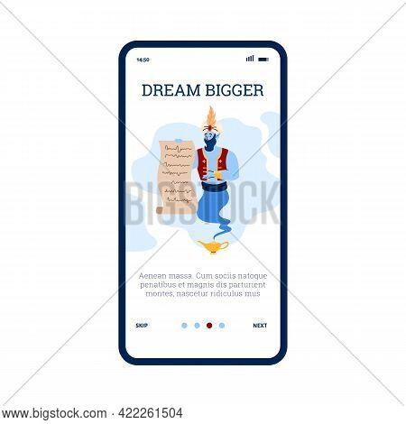 Onboarding Screen For Mobile App With Genie, Cartoon Flat Vector Illustration.