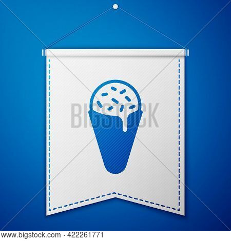 Blue Ice Cream In Waffle Cone Icon Isolated On Blue Background. Sweet Symbol. White Pennant Template