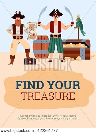 Banner Or Poster For Pirate Party Or Quest Game Flat Vector Illustration.