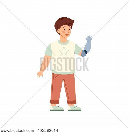 Little Disabled Boy With Arm Prosthesis, Cartoon Vector Illustration Isolated.
