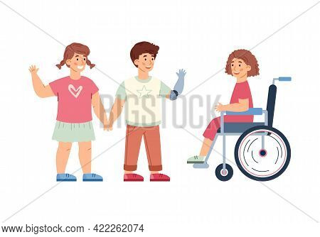 Healthy And Disabled Children Socialising, Cartoon Vector Illustration Isolated.
