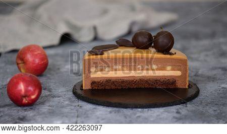 Caramel Apple Mousse Cake With Mirror Glaze. Autumn Cake.french Food.