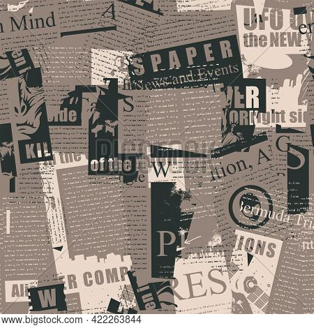 Creative Seamless Pattern With An Abstract Collage From Newspaper And Magazine Clippings. Vector Bac