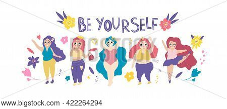Set With Women Plus Size. The Ballerina Is Dancing. The Girl Does Gymnastics. Stylish Plump Girl Is