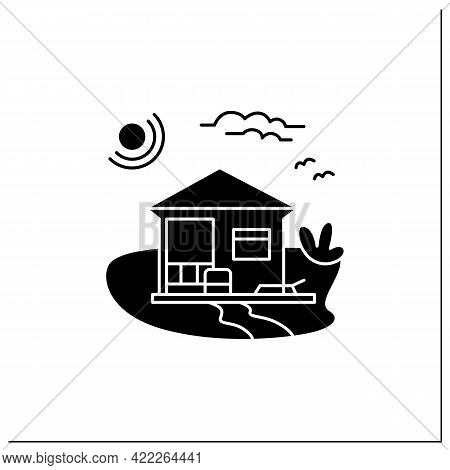 Beach Hut Glyph Icon. Modern Facade Comfortable House On Beach. Perfect Relax Place. Seascape. Rest