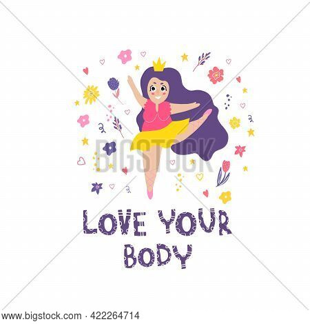 The Girl Is Engaged In Ballet. A Stylish Plump Girl Is Engaged In Sports. Feminism. Doodle Style. Th