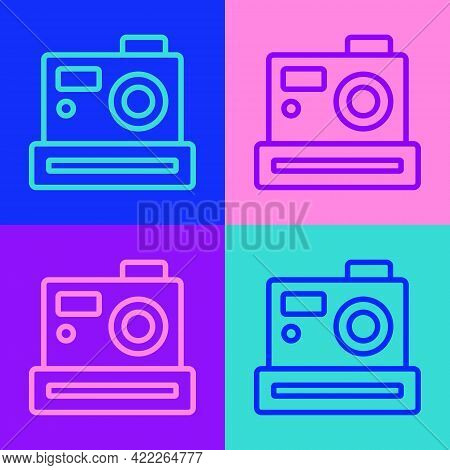 Pop Art Line Photo Camera Icon Isolated On Color Background. Foto Camera. Digital Photography. Vecto