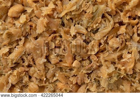 Traditional Chinese fermented cabbage close up full frame