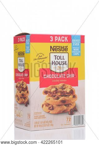 IRVINE, CALIFORNIA - 28 MAY 2021: A 3 pack box of Nestle Toll House Chocolate Chip Cookie Dough.