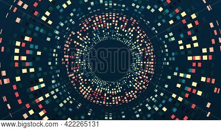 Vector Technology Background. Big Data Visualization. Abstract Stream Information With Squares Array
