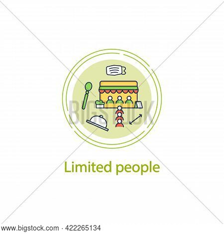Limited People Concept Line Icon.restrictions In Restaurants.forced Distance Between People.regulati
