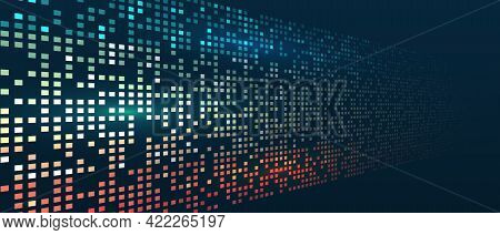 Abstract Background With Squares Array, Binary Code. Connection Structure. Data Array Visual Concept