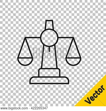 Black Line Scales Of Justice Icon Isolated On Transparent Background. Court Of Law Symbol. Balance S