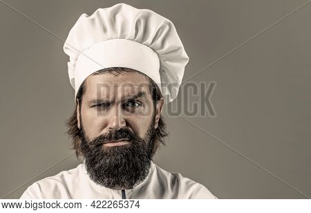 Bearded Chef, Cooks Or Baker. Bearded Male Chefs Isolated. Confident Bearded Male Chef In White Unif