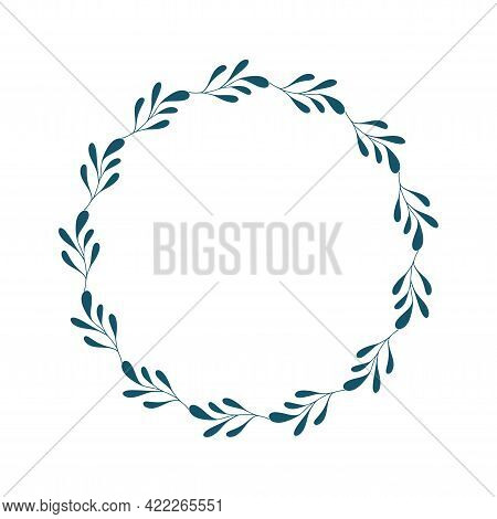 Natural Vector Frame. Contour Linear Branch. Template For Greeting Card, Invitation, Poster