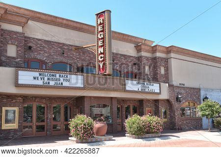 SAN JUAN CAPISTRANO, CALIFORNIA - 27 MAY 2021: Regency Theater on Verdugo Street in the Historic Downtown District.