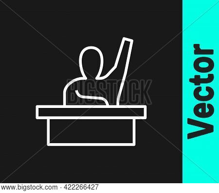 White Line Active Male Kid Raising Hand Answering To Teacher Question Icon Isolated On Black Backgro
