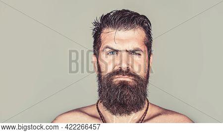 Handsome Brutal Male. Sexy Closeup Portrait Of Brutal Handsome Male, Black Beard