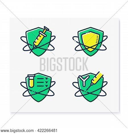 Immune System Color Icons Set. Immunology Concept. Immunization, Immunity System Test, Immunoglobuli