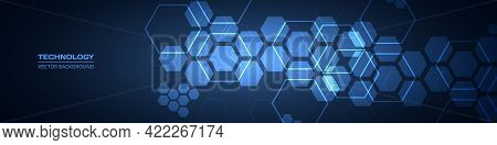 Dark Blue Technology Abstract Wide Background With Hexagonal Elements. Abstract Hexagon Medical Navy