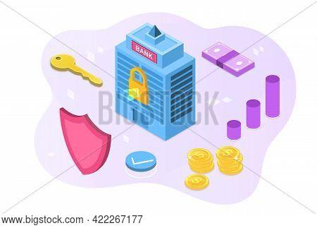 Online Banking Branch, Safe Account, Deposit Protection, Money Vault, . Flat Abstract Metaphor Carto