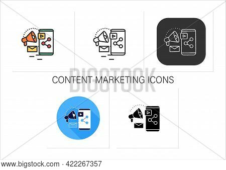 Content Marketing Icons Set. Strategic Marketing Focused On Creating And Distributing Valuable, Cons