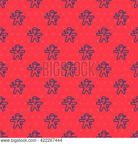 Blue Line Voodoo Doll Icon Isolated Seamless Pattern On Red Background. Happy Halloween Party. Vecto