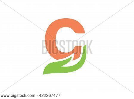 C Logo Design. C Letter Logo With Hand Concept