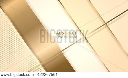 Elegant Realistic Cream Shade Luxury Design Background With Golden Lines And Shadows. Beige Paper Cu