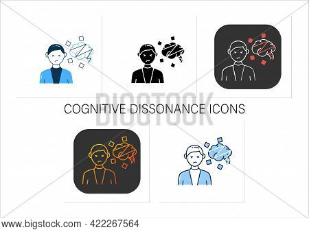 Cognitive Dissonance Icons Set.mental Conflict Between Knowledge, Ideas, Mind. Divergence Of Thought