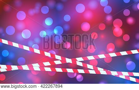 Police Lights Flash Red And Blue Glowing Flares On Night Bokeh Background. Emergency Flashing Light