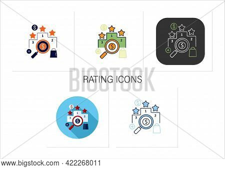 Rating Icons Set. Evaluate Important Things.find Perfect Products.estimates.thoughtful Spending Mone