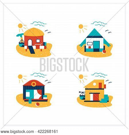 Beach Hut Flat Icons Set. Modern Facade Comfortable Houses On Beach. Perfect Relax Place. Seascape.