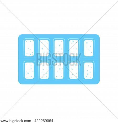 Chewing Gum In Blister Pack Isolated On White Background, Mint Flavor, Vector Illustration