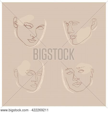 Elegant Faces Silhouette Chalk Collections. One Line Drawing Faces. Fashion Concept, Male And Female