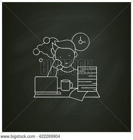 Work Procrastinating Chalk Icon.unnecessarily Postpone Dealing Work-related Tasks. Tired Person.over