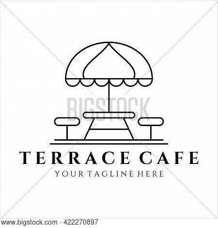 Terrace Cafe Line Art Logo Minimalist Vector Illustration Template Design. Street Food Restaurant Co