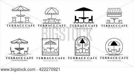 Set Of Terrace Cafe Logo Vector Line Art And Vintage Illustration Template Design. Bundle Collection