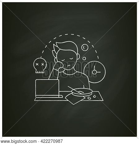 Laziness Chalk Icon.postpone Unpleasant Tasks For Later.delay. Lazy Person. Procrastination Concept.