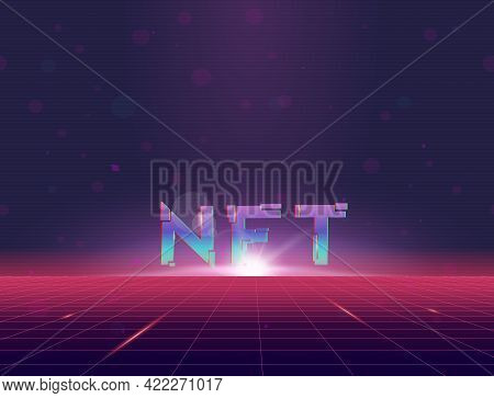 Nft Rising In Virtual Reality. Retro Style Grid Background With Sun, Rising Above Grid Plane. Purple