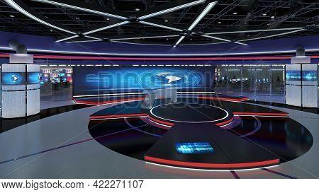 Virtual Tv Studio News Set 31. Green Screen Background. 3d Rendering  Virtual Set Studio For Chroma