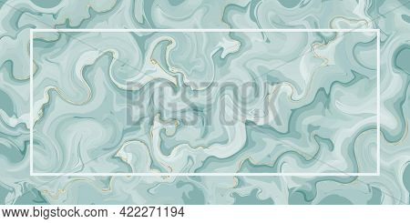 Emerald Marble Texture With Gold And Thin White Frame. Abstract Watercolor Vector Background. Liquid