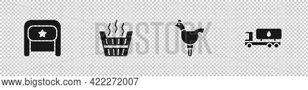Set Ushanka, Sauna Bucket, Cockerel Lollipop And Tanker Truck Icon. Vector