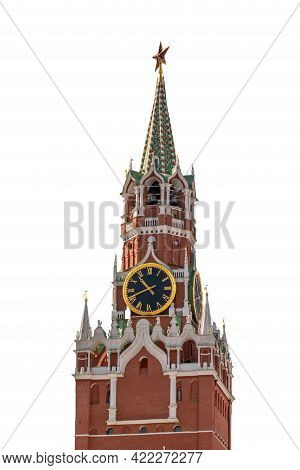 Spasskaya Tower Of Moscow Kremlin Isolated On White Background. The Spasskaya Tower Is The Main Towe