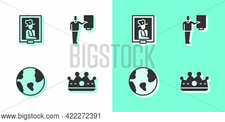 Set King Crown, Portrait Museum, Earth Globe And Museum Guide Icon. Vector