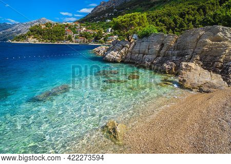 Spectacular Gravelly Seashore And Stunning Places With Mediterranean Houses On The Waterfront, Brela