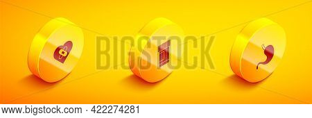 Set Isometric Healed Broken Heart, Medicine Bottle And Pills And Human Stomach Icon. Vector