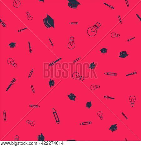 Set Marker Pen, Graduation Cap, Pen And Light Bulb With Idea On Seamless Pattern. Vector