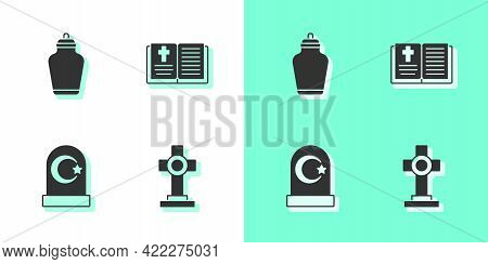 Set Grave With Cross, Funeral Urn, Muslim Cemetery And Holy Bible Book Icon. Vector