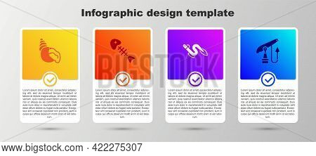 Set Scallop Sea Shell, Fish Skeleton, Eel Fish And Fishing Harpoon. Business Infographic Template. V
